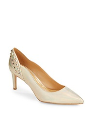 Enzo Angiolini Adrielle Metallic Leather Studded Pumps Gold