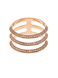Ileana Makri Diamond And Rose Gold Triple Band Ring