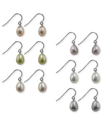 Honora Style Multicolored Cultured Freshwater Pearl Earring Set In Sterling Silver 7Mm