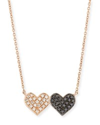 Sydney Evan 14K Rose Gold Double Heart Pendant Necklace W Two Tone Diamonds