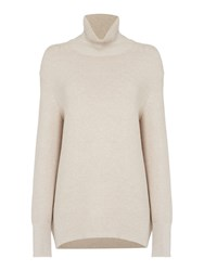 Oui Ribbed Roll Neck Jumper Stone