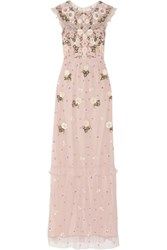Needle And Thread Organza Trimmed Embellished Tulle Maxi Dress Pastel Pink