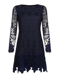 Mela Loves London Beaded Collar Dress Navy