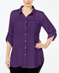 Calvin Klein Plus Size Classic Tunic Shirt Purple