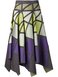 Issey Miyake Geometric Pattern Full Skirt Pink And Purple