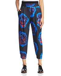 Dkny Rose Print Cropped Pants Black