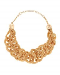 Kenneth Jay Lane Woven Golden Snake Chain Necklace