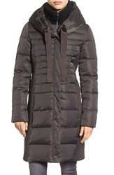 Tahari Women's Quinn Down And Feather Coat Legend Grey