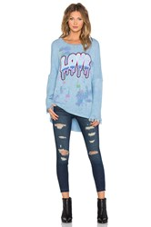 Lauren Moshi Fortune Splatter Dripping Love Pullover Fringe Sweater Blue