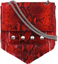 Claudie Pierlot Angela Snake Embossed Leather Shoulder Bag Rouge
