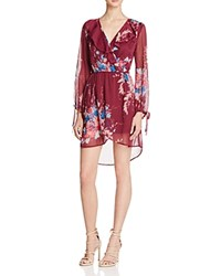 Band Of Gypsies Floral Print Wrap Effect Dress Burgundy Teal