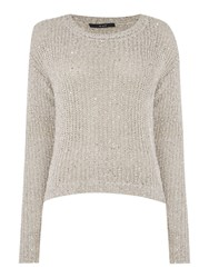 Oui Long Sleeve Layer Sequin Jumper Grey