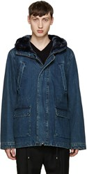 Yves Salomon Indigo Denim Long Parka