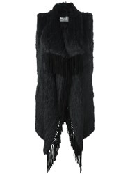 Yves Salomon Meteo By Long Fringed Fur Gilet Blue