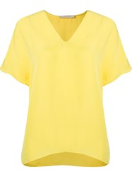 Giuliana Romanno Deep V Neck Loose Blouse Yellow And Orange