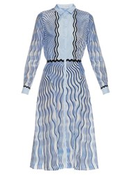 Mary Katrantzou Silcott Snuffbox Print Silk And Cotton Blend Dress Light Blue