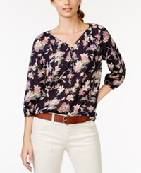 American Living Three Quarter Sleeve Floral Print Peasant Blouse Only At Macy's