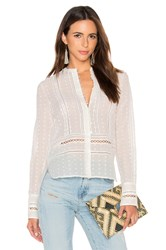 Derek Lam Long Sleeve Embroidered Blouse White