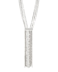 Lydell Nyc Long Silvertone Fringe Necklace