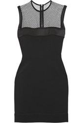 Victoria Beckham Swiss Dot Tulle Paneled Silk And Wool Blend Midi Dress Black