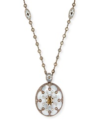 Mother Of Pearl Oval Pendant Necklace With Brown And White Diamonds Arunashi