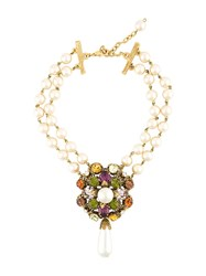 Chanel Vintage Faux Pearl Statement Choker White