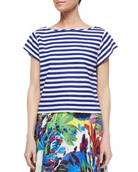 Milly Riviera Short Sleeve Striped Sailor Tee Blue White