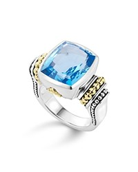 Lagos 18K Yellow Gold And Sterling Silver Caviar Color Ring With Swiss Blue Topaz Blue Silver