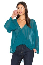 Bishop Young Bell Sleeve Crossover Top Dark Green