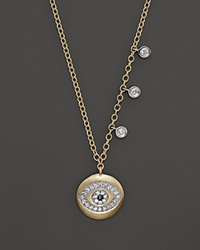 Meira T Yellow Gold Evil Eye Necklace With Diamond Bezels .15 Ct. T.W 16