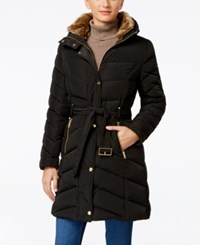 Cole Haan Faux Fur Collar Belted Down Puffer Coat Black