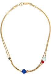 Isabel Marant Candy Gold Plated Multi Stone Necklace Gold Blue