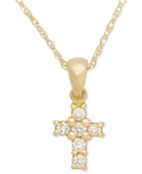 Macy's Cross Diamond Pendant Necklace In 14K White Or Yellow Gold 1 8 Ct. T.W.