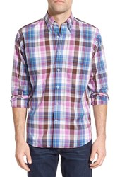 Men's Maker And Company 'Exploded Plaid' Regular Fit Sport Shirt Brown Pink