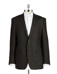 Calvin Klein Checkered Wool Blazer Brown