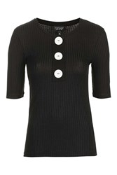 Topshop Button Front Top Black