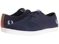 Fred Perry Byron Low Twill Woven Canvas Carbon Blue Snow White Men's Shoes