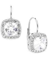 Eliot Danori Earrings Silver Tone Framed Cushion Cut Cubic Zirconia Leverback Earrings 6 Ct. T.W.