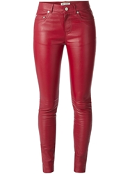 Saint Laurent Leather Skinny Trousers Red