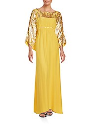 Josie Natori Pintuck Solid Lace Dress Yellow
