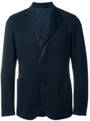 Lardini Textured Reversible Blazer Blue