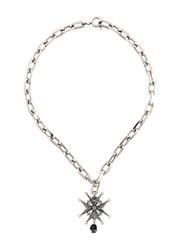 Alexander Mcqueen Medal And Pearl Necklace Metallic