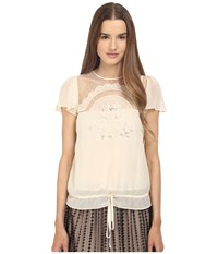 Red Valentino Cut Out Embroidery Point D'esprit Blouse White