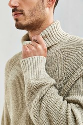 Urban Outfitters Uo Cotton Turtleneck Sweater Cream