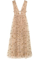 Valentino Sequin Embellished Tulle And Georgette Gown Neutral