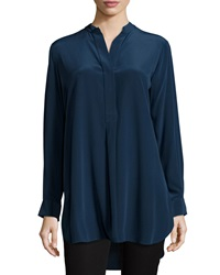 Joseph Stand Collar Silk Tunic Top