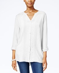 Jm Collection Pleated Button Front Shirt Only At Macy's Bright White