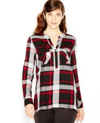 Kensie Long Sleeve Plaid Shirt Red Combo