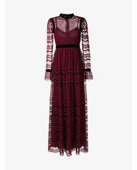 Philosophy Sheer Embroidered Long Sleeve Dress Red Multi Coloured Black Berry Red