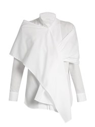 Yohji Yamamoto Regulation Wraparound Shawl Cotton Shirt White